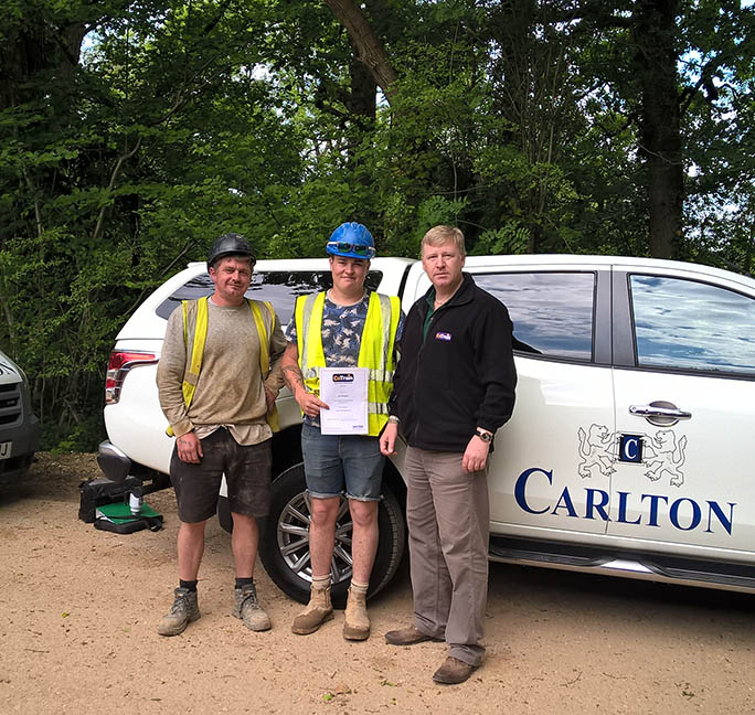 (Photo - Jay Westrope, Carlton Site Foreman, Joe Morgan, Julian Carter)